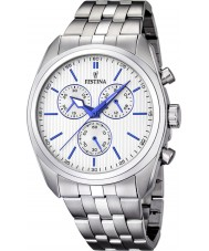 Festina F16778-2 Para hombre reloj pulsera cronógrafo de acero de plata