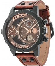Police 14536JSB-12A reloj de la correa de cuero marrón para hombre del sumador