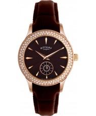 Rotary LS02907-16 Relojes de cristales de la esfera del reloj y la correa de cuero marrón