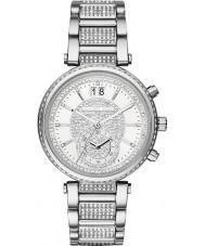 Michael Kors MK6281 Las señoras reloj cronógrafo aserrador tono de plata con piedras engastadas