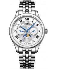 Rotary GB05065-01 relojes para hombre reloj cronógrafo de plata Fase lunar