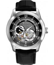Bulova 96A135 Reloj para hombre automático de la correa de cuero negro