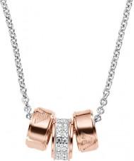 Emporio Armani EG3045040 Señoras de la firma collar de oro rosa con cadena rolo de plata