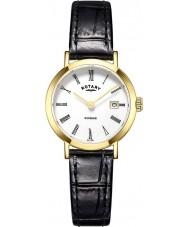 Rotary LS05303-01 Relojes de Windsor chapado en oro reloj de la correa de cuero negro