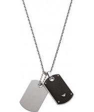 Emporio Armani EGS1601040 Para hombre de la firma de dos tonos collar de la etiqueta de perro de fibra de carbono