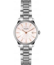 Rotary LB02770-07 Relojes de locarno reloj de acero de plata