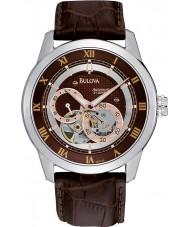 Bulova 96A120 Para hombre reloj automático de la correa de cuero marrón