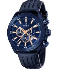 Festina F16898-1 el prestigio de cuero para hombre azul reloj cronógrafo