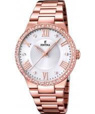 Festina F16721-1 Señoras de oro rosa reloj plateado