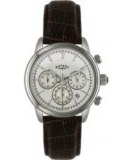 Rotary GS02876-06 relojes para hombre mónaco marfil reloj cronógrafo de los deportes marrón