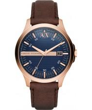 Armani Exchange AX2172 vestido para hombre reloj de la correa de cuero de color marrón oscuro