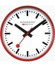 Mondaine A990-CLOCK-11SBC reloj de pared de metal rojo