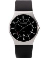 Skagen 233XXLSLB Mens klassik de cuero negro reloj de la correa