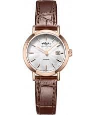 Rotary LS90157-02 Damas les originales Windsor rosa correa de reloj de cuero marrón chapados en oro