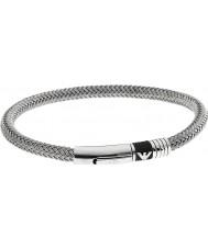 Emporio Armani EGS1623040 Para hombre de la firma de caucho incrustaciones brazalete de acero 2 de plata