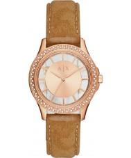 Armani Exchange AX5254 Vestido de las señoras del reloj de la correa de color marrón claro Nabuck