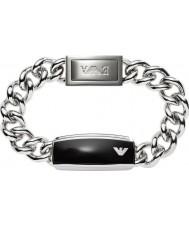 Emporio Armani EGS1729040 Para hombre de la firma elegante negro mate Identificación del brazalete de acero