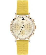 Orla Kiely OK2004 Damas Frankie cronógrafo de cuero correa de reloj de color amarillo