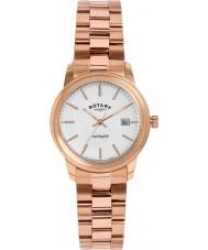 Rotary LB02739-06 Relojes de vengador de oro rosa reloj plateado