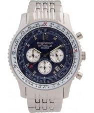 Krug-Baumen 600304DS Para hombre de diamante viajero aéreo reloj cronógrafo de plata