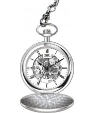 Rotary MP00726-01 Para hombre reloj de bolsillo de acero esqueleto mecánico