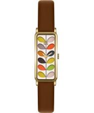 Orla Kiely OK2104 Las señoras se derivan reloj de la correa de cuero marrón de impresión