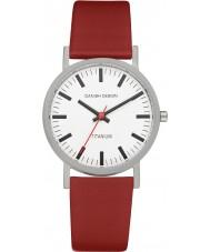 Danish Design Q19Q199 Reloj para hombre de la correa de cuero rojo