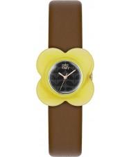 Orla Kiely OK2120 Señoras de amapola Amarillo caja del reloj de la correa de cuero marrón