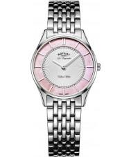 Rotary LB90800-07 Las señoras de ultra reloj de pulsera de acero de plata delgada
