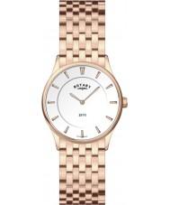 Rotary LB08204-02 Damas blanco ultra delgado reloj de oro rosa