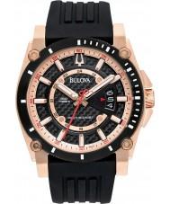 Bulova 98B152 Mens Precisionist reloj color de rosa de oro negro