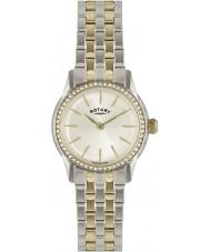 Rotary LB02571-03L Relojes de cristal de Verona bisel de champán reloj en dos tonos