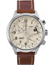 Timex T2N932 reloj cronógrafo fly-back marrón crema para hombre
