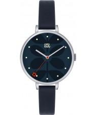 Orla Kiely OK2011 Señoras de la hiedra del reloj de la correa de cuero azul marino