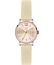 Orla Kiely OK2012 Frankie damas reloj de la correa de cuero color crema