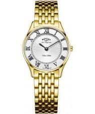 Rotary LB90803-01 Señoras de oro ultra delgado reloj plateado