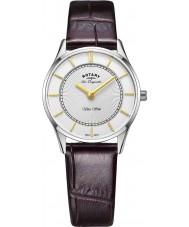 Rotary LS90800-02 Señoras del reloj de la correa de cuero marrón ultra delgado
