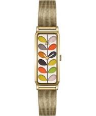 Orla Kiely OK4034 Las señoras se derivan reloj pulsera de malla de oro de impresión