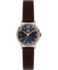 Orla Kiely OK2014 Frankie damas reloj de la correa de cuero de color marrón oscuro