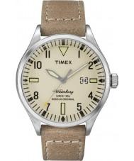 Timex TW2P83900 reloj de la correa de cuero marrón para hombre de Waterbury