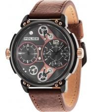 Police 14693JSB-12A Reloj para hombre de la correa de cuero marrón steampunk