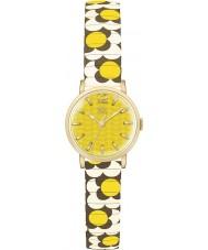 Orla Kiely OK4044 Damas flor del pop mostaza marrón crema de la ampliación de reloj pulsera