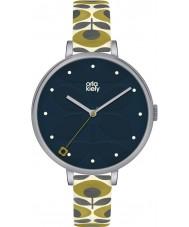Orla Kiely OK2135 Señoras de la hiedra del reloj de la correa de cuero color crema
