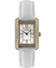 Rotary LS02652-41 Relojes de cuero blanco reloj de la correa