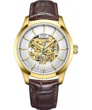 Rotary GS05035-03 Para hombre chapado en oro reloj mecánico esqueleto marrón