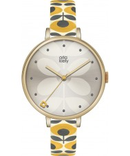 Orla Kiely OK2136 Señoras de la hiedra del reloj de la correa de cuero amarillo