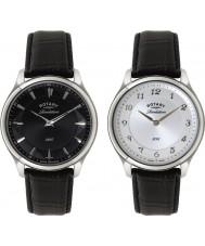 Rotary GS02965-04-22 correa de cuero negro para hombre de la revelación reloj con esfera reversible