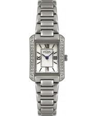 Rotary LB02650-41 reloj de acero blanco Relojes de cristal embellecedor
