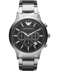Emporio Armani AR2434 Para hombre reloj de plata negro clásico cronógrafo