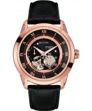Bulova 97A116 Reloj para hombre automático de la correa de cuero negro